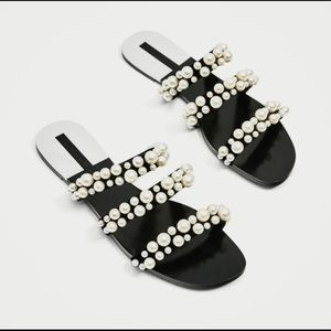 Zara Pearl Strappy Flat Sandal Slides